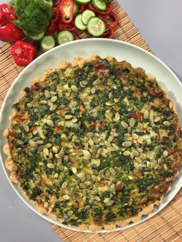 Ispanaklı Kabak Çekirdekli Fransız Pizzası-Kişloren Tarifi