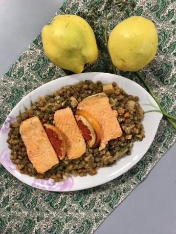 Yeşil Mercimekli Somon Balığı Tarifi